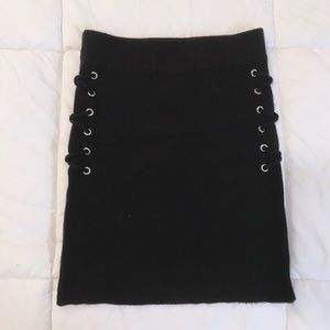 Rubbed Knit Lace-Up Mini Skirt